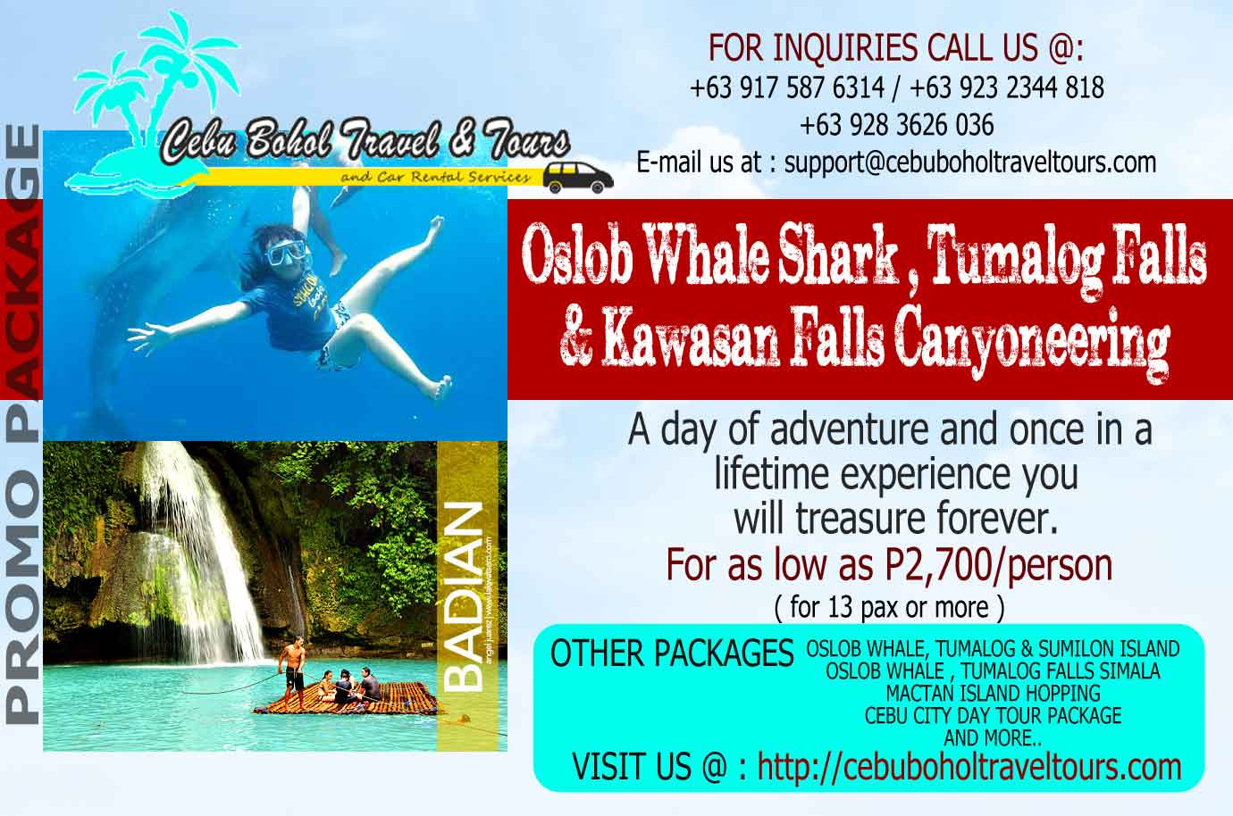 oslob whale shark and canyoneering