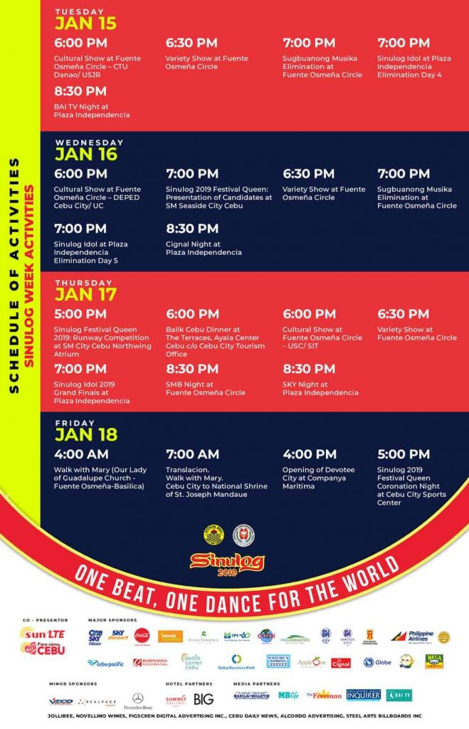 sinulog 2019 schedule of activities